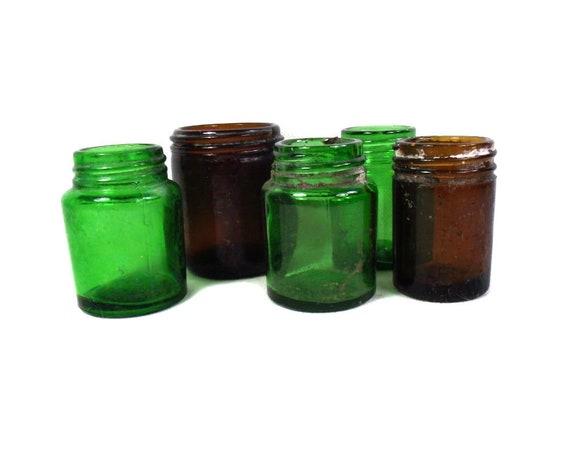 Set of 5 Vintage Green and Brown Glass Jars