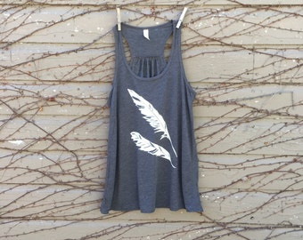 Women's Flowy Bella Tank Top with Feather
