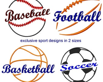 Sport themed embroidery designs