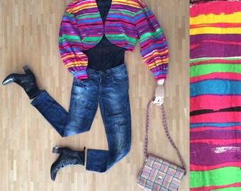 Vintage Oversize 80's Bolero/Rainbow Brush Painted Stripes Print/ Piqué Quilted Coton