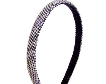 Skinny Houndstooth Headband - Black, Off-White and Lavender - Special Collection