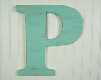Distressed Letter Rustic Letter P Wooden Letter P Letter Decor Gallery Wall Art 12 inch Letter Wood Letter P Wood Letters for Wall Decor