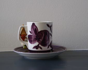 Purple Cup and Saucer Boch Belgium