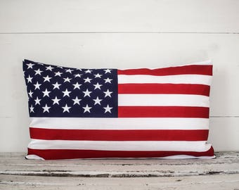 USA Flag pillow cover, lumbar pillow cover farmhouse style 12x24,  pillow cover, fabric pillow cover * free shipping*