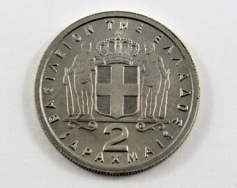 Greece 1962 2 Drachmai Coin.