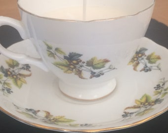 Vintage cup and saucer candle - teacup candle