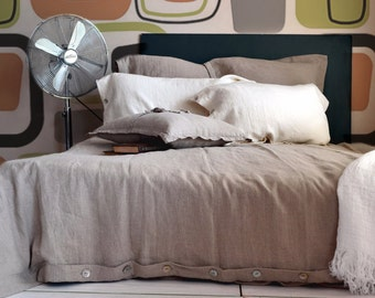 """Pure stonewashed linen quilt/duvet cover """"Pure Elegance"""", Natural flax colour, King and Queen sizes"""