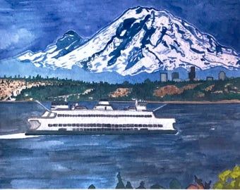 8x10 Print  Seattle Ferry Painting  Mount Rainier Scenic Painting  Seattle Painting  Mount Rainier Watercolor  Scenic Watercolor