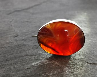 Victorian Sterling Silver and Banded Carnelian Agate Brooch, Antique