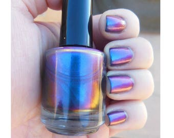 Chromaflair Color Shifting Morphing Multichrome Cyan Blue Pink Green Purple Shift Handmade Indie Nail Polish Top Coat Nail Polish Lacquer