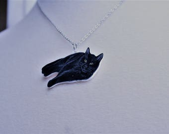 Cat Necklace, cat jewelry, black cat lover gift, lucky cat, black cat necklace, cat lover gift, animal jewelry, shrink plastic, valentine