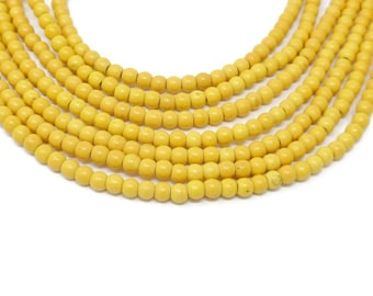 Yellow Howlite - 4mm Round Bead - Whole Strand - 114 beads - Mustard - Lemon - Synthetic Turquoise - Banana