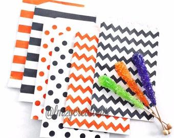 Halloween Party Favor Bag   BLACK Stripe Paper Bags   Black Stripe Bags (5x7)  