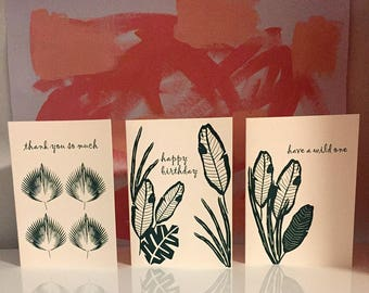 Letterpress Greeting Cards, Tropical Greeting Cards, Typography, Hand Printed, Tropical TRIO