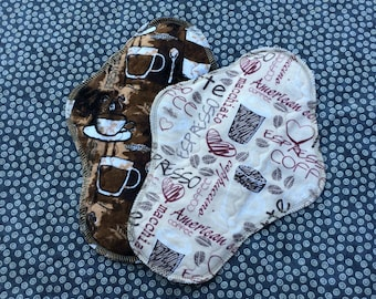 """Ready to Ship, 10"""" Moderate, Waterproof Moderate Reusable Cloth Mama Pads, Coffee, Other Sizes Available Upon Request"""