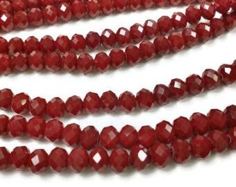 105 Dark Red Rondelle Beads 4x3mm, r8