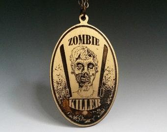 Zombie killer, zombie jewelry, zombie pendant, walking dead, zombie apocalypse, zombie necklace, etched brass, Halloween jewelry, zombie