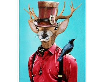 Steampunk, Deer Print,  Antler, Stag, Deer Art, Deer Art Print, Deer Artwork, Wall Decor, Wall Art, Deer Wall Hanging,Blue,8x10,Gift For Men
