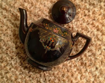 Vintage 1940s Japanese Moriage Redware Hand Painted Teapot.  Made in Japan.
