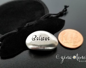 Believe Pocket Coin, Confirmation Gift, Graduation Gift, Affirmation Stones, Chemo Gift, Encouragement Gift, Inspirational Pocket Token