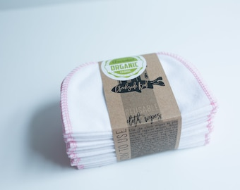 Organic Cotton Flannel Cloth Wipes with Organic Cotton Thread -   Organic Wipes - Double Layer --   Pink Thread