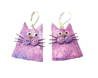 cat earrings, cats jewelry, pink and purple polymer clay earrings, gift for cat lovers, Christmas gift for women, Sterling Silver earrings
