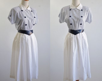Vintage Nautical Dress, 80s Dress, Blue and White Striped Dress, Sailor Dress, Summer Dress, Collared Short Sleeve Dress, White Skirt, Small