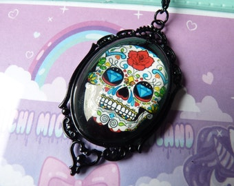 Red Rose Mexican Sugar Skull Cameo Necklace - Black gift box included