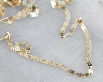 Decorative Flat Link Yellow Gold Chain L0DZHP-N