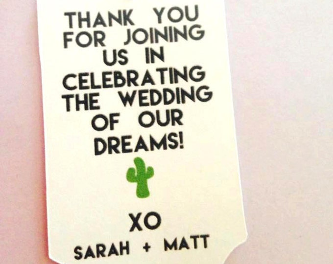 Thank you tags with cactus, desert wedding, wedding tags, custom tags, plant favor, Custom color, Personalized Tags, wedding favors