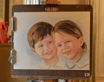Custom Pastel Portrait (2 children)