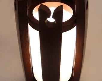 Le château, recyclé lampe douelles de barrique vin, papier shoji