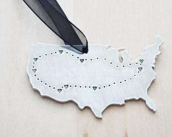 United States Map Road Trip Wall Hanging  - Long Distance Relationship Ornament - See You Soon - USA Map - Hand Stamped - LDR Gift