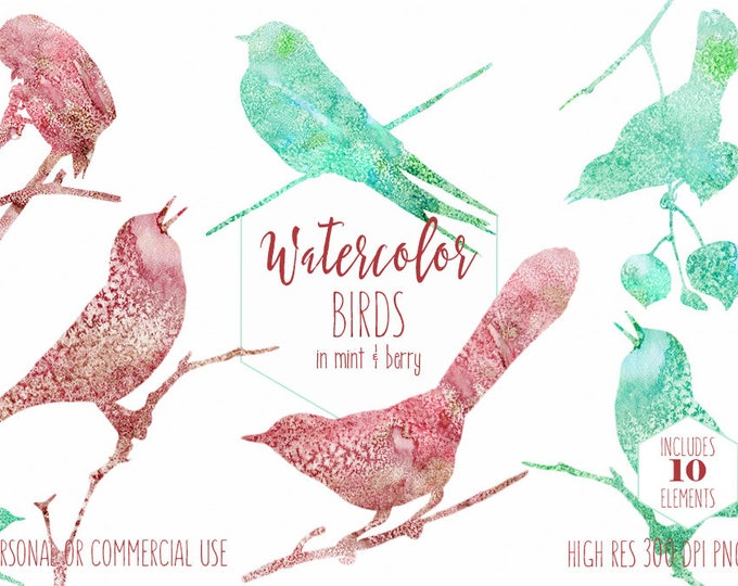 WATERCOLOR BIRD Clipart Commercial Use Clip Art Burgundy & Mint Watercolor Cute Birds on Branches Graphics Little Bird Silhouette Clipart