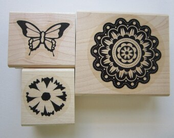 3 rubber stamps - flowers, butterfly