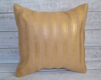 Burlap Metallic Gold Striped Pillow