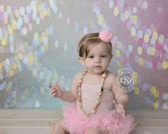 Sitter Pink Tutu Dress, 6-12 Month Photography Props, Sitter Session, Baby Tutu, White Tutu, Cake Smash Tutu, Photo Prop Romper