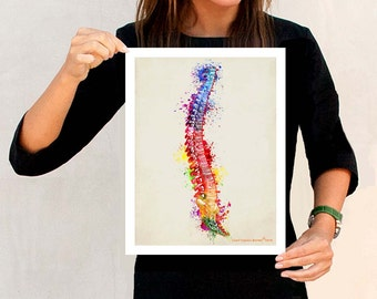 "Watercolor Spine, 11"" x 14"", Anatomy Medical print, Registered Nurse Gift, Nurse Graduation gift, Watercolor Splatter art, Anatomy Spine art"