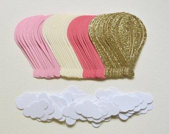 Hot Air Balloon Confetti - Hot Air Balloon Table Scatter - Hot Air Balloon Decorations - Girl Baby Shower - Gold Cream Pink - Hootsie