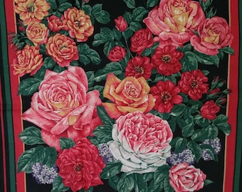 Roses, Pillow Fabric Panel, Cut, Sew and Stuff Pillow, Pillow, Fabric, Pillow Panel,
