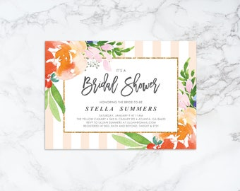 Printable Watercolor Floral and Stripes Bridal Shower Invitation