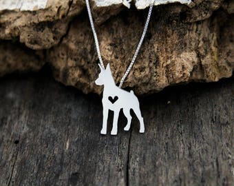 Doberman Pinscher necklace, sterling silver hand cut pendant with heart, tiny dog breed jewelry