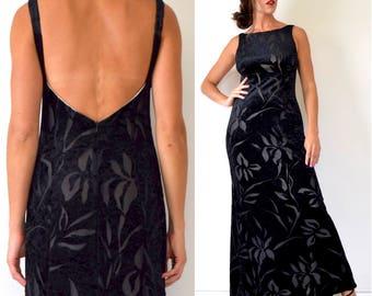 Vintage 90s Black Velvet Floral Cut Out Open Back Maxi Dress (size