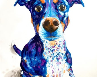 Pet Portrait | Pet Art by Aidan Weichard | Original Painting on Canvas | Abstract Animal Art | Dog Painting | Memorial Art | Dog Portrait
