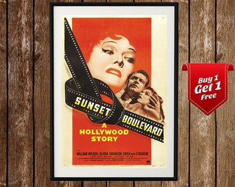 Sunset Boulevard Movie Poster- Sunset Blvd Poster, Sunset Strip, William Holden, Gloria Swanson, Drama, Old movie poster, Old film, Movie