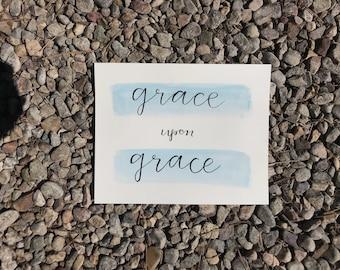 Grace Upon Grace Handlettered Watercolor John 1:16