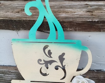 Coffee Cup Decor/ Wall Decor/ Coffee Wall Decor/ Shabby Chic Wall Decor/ Home and Garden/ Kitchen Decor/ Java Decor