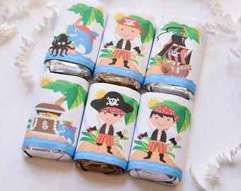 54 Pirates Candy Wrappers, Pirates Stickers, Pirates Party Favor, Pirates Birthday Party Favors, Pirates Party Supplies
