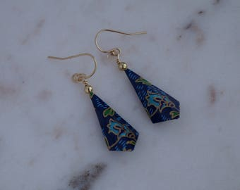 Handmade paper earrings in gold and blue tulip print
