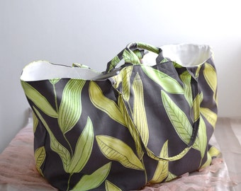 Large simple tote bag. green and yellow leaves print market tote. Everyday wear shopping bag. Style140G. Ready to ship